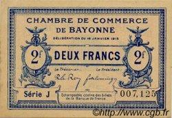 2 Francs FRANCE régionalisme et divers BAYONNE 1915 JP.021.19 TTB à SUP