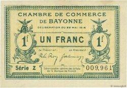 1 Franc FRANCE régionalisme et divers Bayonne 1916 JP.021.29 SPL à NEUF