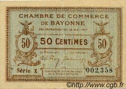 50 Centimes FRANCE régionalisme et divers BAYONNE 1917 JP.021.40 TTB à SUP