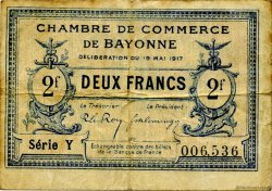 2 Francs FRANCE régionalisme et divers BAYONNE 1917 JP.021.49 TB