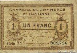 1 Franc FRANCE régionalisme et divers BAYONNE 1918 JP.021.59 TB