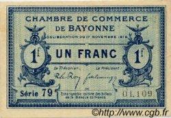 1 Franc FRANCE régionalisme et divers BAYONNE 1919 JP.021.64 SPL à NEUF