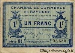 1 Franc FRANCE régionalisme et divers Bayonne 1919 JP.021.64 TTB à SUP