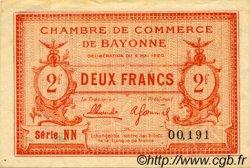 2 Francs FRANCE régionalisme et divers Bayonne 1920 JP.021.68 TTB à SUP