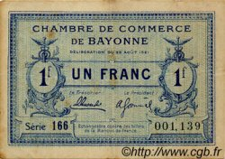 1 Franc FRANCE régionalisme et divers BAYONNE 1921 JP.021.70 TB