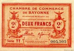 2 Francs FRANCE régionalisme et divers BAYONNE 1921 JP.021.71 SPL à NEUF