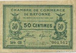 50 Centimes FRANCE régionalisme et divers Bayonne 1922 JP.021.73 TB