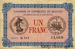 1 Franc FRANCE régionalisme et divers BELFORT 1916 JP.023.21 TTB à SUP