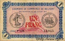 1 Franc FRANCE régionalisme et divers BELFORT 1917 JP.023.29 TTB à SUP
