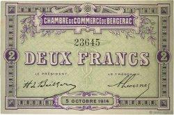 2 Francs FRANCE régionalisme et divers Bergerac 1914 JP.024.06 TTB à SUP