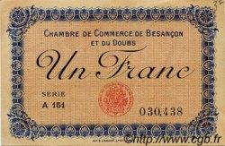 1 Franc FRANCE régionalisme et divers BESANÇON 1918 JP.025.20 TTB à SUP