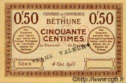 50 Centimes FRANCE régionalisme et divers Béthune 1915 JP.026.03 TTB à SUP