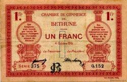 1 Franc FRANCE régionalisme et divers Béthune 1915 JP.026.06 TB