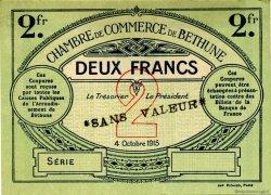 2 Francs FRANCE régionalisme et divers Béthune 1915 JP.026.12 SPL à NEUF