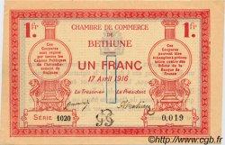 1 Franc FRANCE régionalisme et divers Béthune 1916 JP.026.17 SPL à NEUF