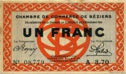 1 Franc FRANCE régionalisme et divers BÉZIERS 1914 JP.027.04 TTB à SUP