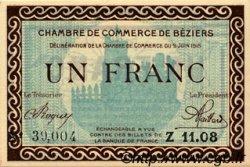 1 Franc FRANCE régionalisme et divers BÉZIERS 1915 JP.027.10 SPL à NEUF