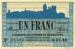 1 Franc FRANCE régionalisme et divers BÉZIERS 1915 JP.027.15 SPL à NEUF