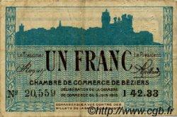 1 Franc FRANCE régionalisme et divers BÉZIERS 1915 JP.027.15 TB