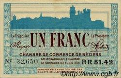 1 Franc FRANCE régionalisme et divers BÉZIERS 1915 JP.027.18 TTB à SUP