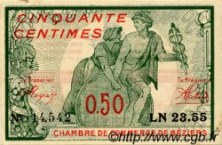 50 centimes france r gionalisme et divers b ziers 1916 c027 20n billets. Black Bedroom Furniture Sets. Home Design Ideas