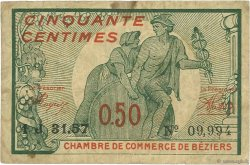 50 Centimes FRANCE régionalisme et divers Béziers 1921 JP.027.32 TB