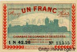 1 Franc FRANCE régionalisme et divers BÉZIERS 1921 JP.027.33 SPL à NEUF