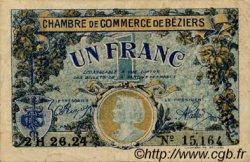 1 Franc FRANCE régionalisme et divers BÉZIERS 1922 JP.027.34 TTB à SUP