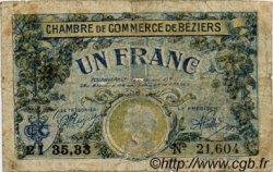 1 Franc FRANCE régionalisme et divers BÉZIERS 1922 JP.027.34