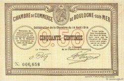50 Centimes FRANCE régionalisme et divers Boulogne-Sur-Mer 1914 JP.031.01 SPL à NEUF
