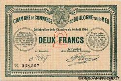 2 Francs FRANCE régionalisme et divers BOULOGNE-SUR-MER 1914 JP.031.07 TTB à SUP