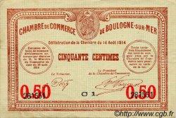 50 Centimes FRANCE régionalisme et divers Boulogne-Sur-Mer 1914 JP.031.14 TTB à SUP