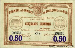 50 Centimes FRANCE régionalisme et divers Boulogne-Sur-Mer 1914 JP.031.23 TTB à SUP