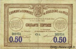 50 Centimes  FRANCE regionalism and various Boulogne-Sur-Mer  1920 JP.031.26 VF - XF