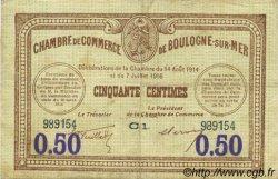 50 Centimes FRANCE régionalisme et divers BOULOGNE-SUR-MER 1920 JP.031.26 TTB à SUP