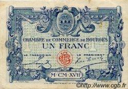 1 Franc FRANCE régionalisme et divers BOURGES 1917 JP.032.09 TTB à SUP