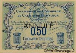 50 Centimes FRANCE régionalisme et divers CAEN ET HONFLEUR 1918 JP.034.05 SPL à NEUF