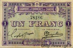 1 Franc FRANCE régionalisme et divers Cahors 1915 JP.035.07 TTB à SUP