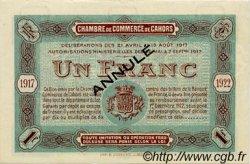 1 Franc FRANCE régionalisme et divers Cahors 1917 JP.035.20 SPL à NEUF