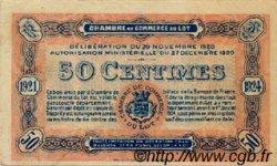50 Centimes FRANCE régionalisme et divers CAHORS 1920 JP.035.25 TTB à SUP