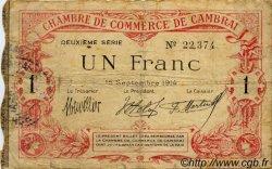 1 Franc FRANCE régionalisme et divers CAMBRAI 1914 JP.037.11 TB