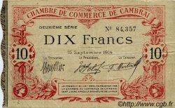 10 Francs FRANCE régionalisme et divers CAMBRAI 1914 JP.037.17 TTB à SUP