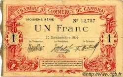 1 Franc FRANCE régionalisme et divers CAMBRAI 1914 JP.037.21