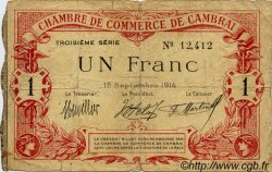 1 Franc FRANCE régionalisme et divers CAMBRAI 1914 JP.037.21 TB