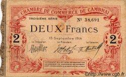 2 Francs FRANCE régionalisme et divers CAMBRAI 1914 JP.037.22 TTB à SUP
