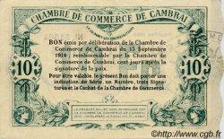 10 Francs FRANCE régionalisme et divers CAMBRAI 1914 JP.037.34 TTB à SUP