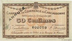 50 Centimes FRANCE régionalisme et divers CARCASSONNE 1914 JP.038.04 TTB à SUP