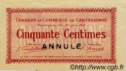 50 Centimes FRANCE régionalisme et divers Carcassonne 1917 JP.038.12 TTB à SUP