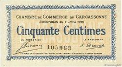 50 Centimes FRANCE régionalisme et divers CARCASSONNE 1920 JP.038.15 SPL à NEUF