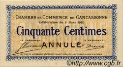50 Centimes FRANCE régionalisme et divers Carcassonne 1920 JP.038.16 SPL à NEUF